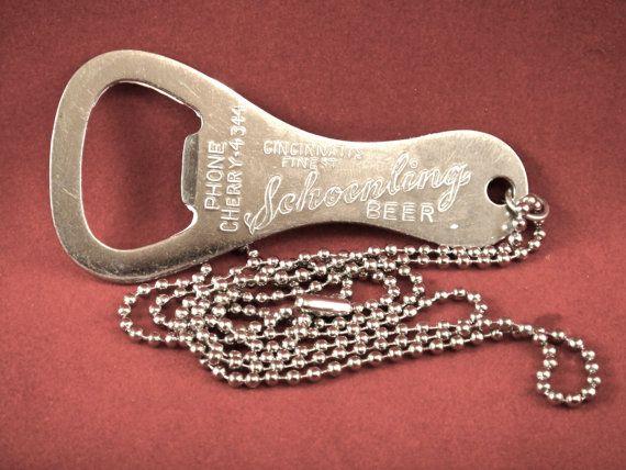 vintage 1950s schoenling beer steel church key bottle opener necklace. Black Bedroom Furniture Sets. Home Design Ideas