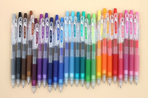 Pilot's Juice gel ink pens -- a collection of brilliantly colorful pens, 0.38 to 0.7 points, containing pigment-based ink that's water-resistant and fade-resistant, ensuring that your vivid colors stick around for a long time. The pens can write on most photographs, and the pastel and metallic colors are fun to try on dark papers. Attach pen to a notebook using the sturdy SPRING-LOADED clip. Or string a chain through the hole in the clip.