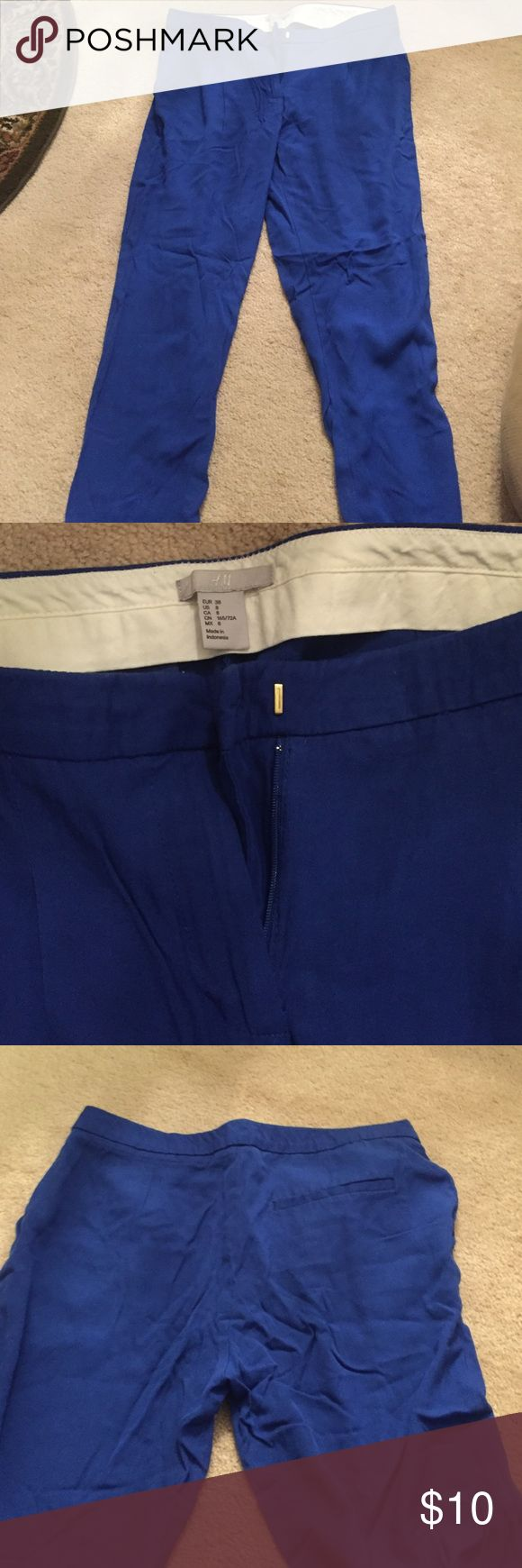 H&M trousers Royal blue, soft trousers, gently worn, great condition H&M Pants Ankle & Cropped