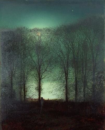 """This ready to hang, gallery-wrapped art piece features a figure in the moonlight. John Grimshaw was a Victorian-era artist, a """"remarkable and imaginative painter"""" knonw for his city night-scenes and l"""
