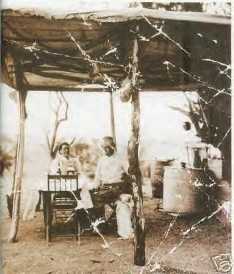 Josie and Wyatt Earp at their campsite, 1920s