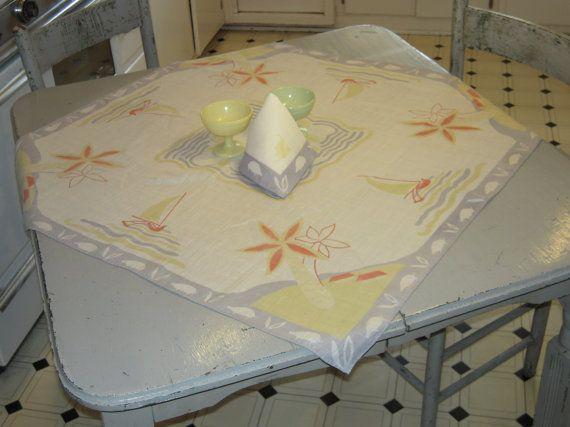 Vintage Tropical Tablecloth & Napkin Sailboats by unclebunkstrunk, $39.99