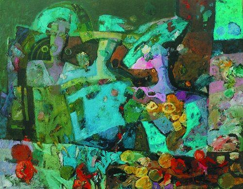 """Obraz """"Trzy kobiety - Fotografia"""", 80x100 cm, oil on canvas, 1995 [nr kat. 15-02]; signed: B.Wąsowska; © Beata Wąsowska"""