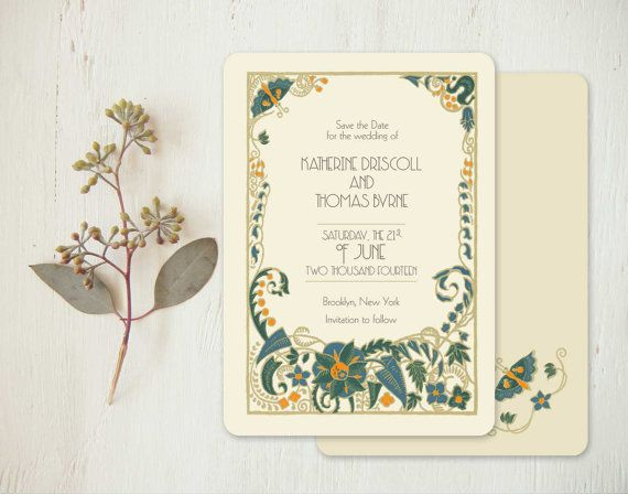 Art Deco Save the Dates, Save the Date, Wedding Invitations, 1920s, Floral Save the Date, Vintage Style Wedding Invitation - Jade Mandevilla