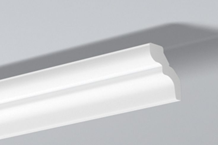 "Premium Polystyrene Crown Molding - White Prefinished - Model D / 2 1/2"" X 1"" X 78-3/4"""
