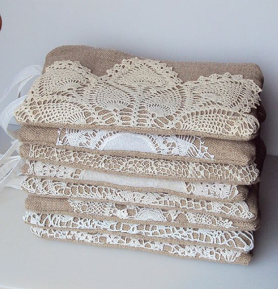 Set of 8 - Burlap Wristlets Vintage Doily - Bridesmaid Clutch - Rustic Wedding - Ivory White Lace Wedding Gift