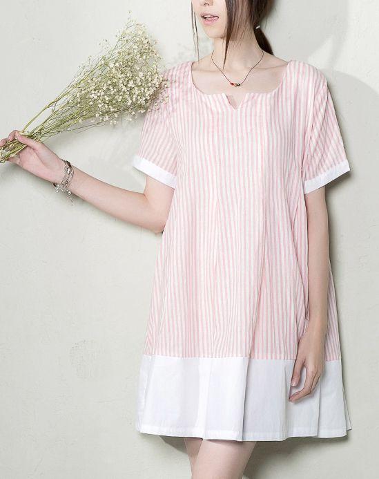 pink plus size summer dress. Pink natural linen striped shift dress plus size summer maternity dresses