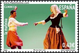 En el sello podemos ver una pareja de bailarines vestidos con los trajes típicos de las islas Baleares.