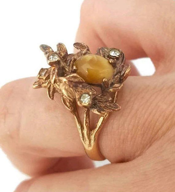 Victorian Ring 18k Hge Espo Ring Vintage Rings Rhinestone Ring Large Repousse Glass Rings For Women Bird Nest Antique Gold Ring Victorian Rings Antique Gold Rings Vintage Rings