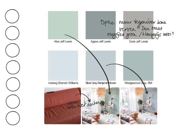 Woonkamer. Om aan te geven dat vergrijsd groen of grijsblauw best kunnen bij de bank, mits tegenoverliggende muur en verder in huis veel neutralen