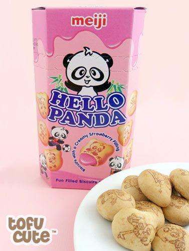 Buy Meiji Hello Panda Creamy Strawberry Filled Biscuits at Tofu Cute