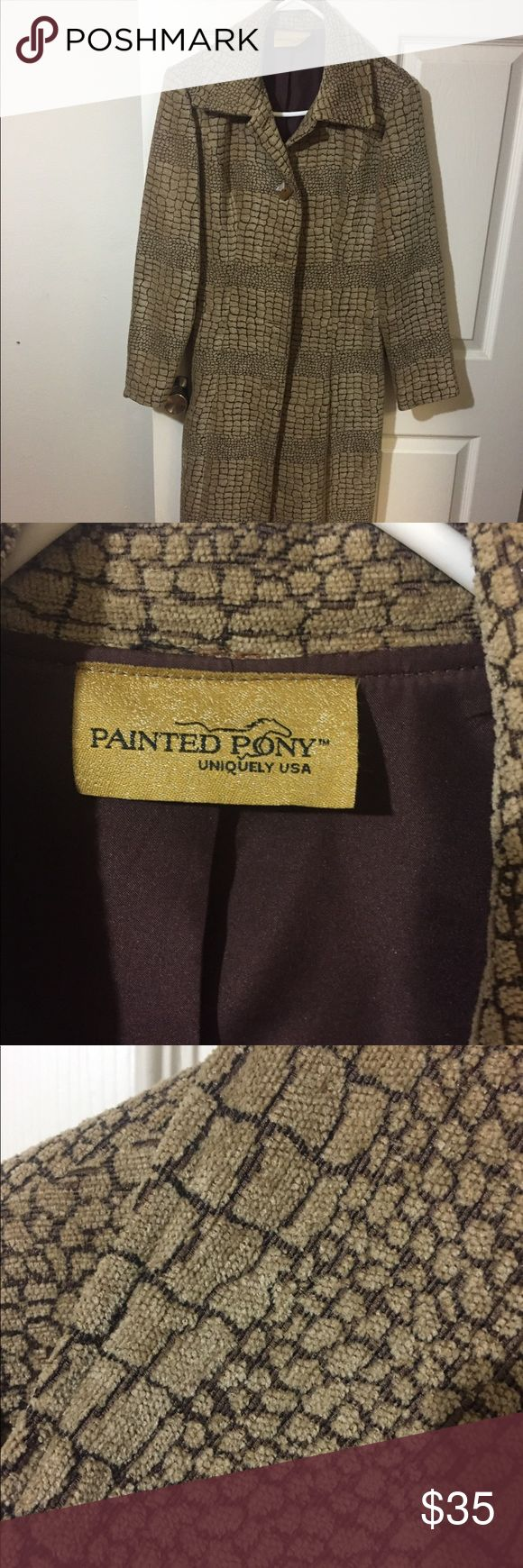 Painted Pony Knee Length Tapestry Jacket Long tapestry coat from Painted Pony. Tan and brown with brown square buttons. Bought at a sample sale so no size label in it. It is a 10 though. Shoulder to shoulder is 19 inches. Shoulder to bottom is 42 inches. Super cute with jeans and brown boots!  Doesn't fit me anymore. Worn 4 times. painted pony Jackets & Coats Trench Coats