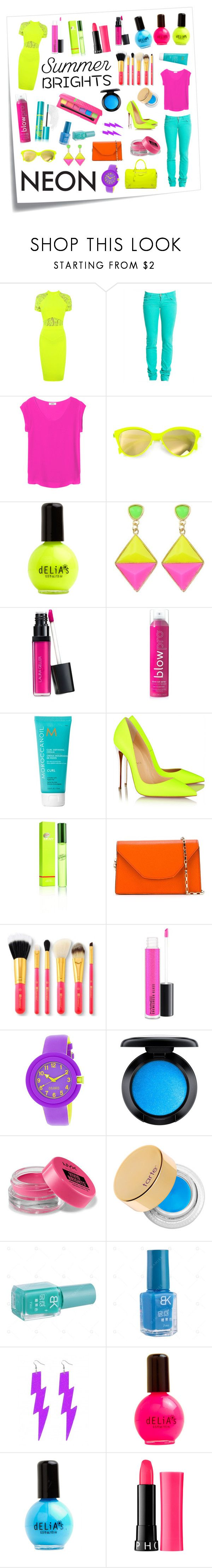 """""""Neon Style"""" by pr267 ❤ liked on Polyvore featuring Post-It, Emanuel Ungaro, Replay, OTTE, Balenciaga, Italia Independent, Laura Geller, blow, Moroccanoil and Christian Louboutin"""