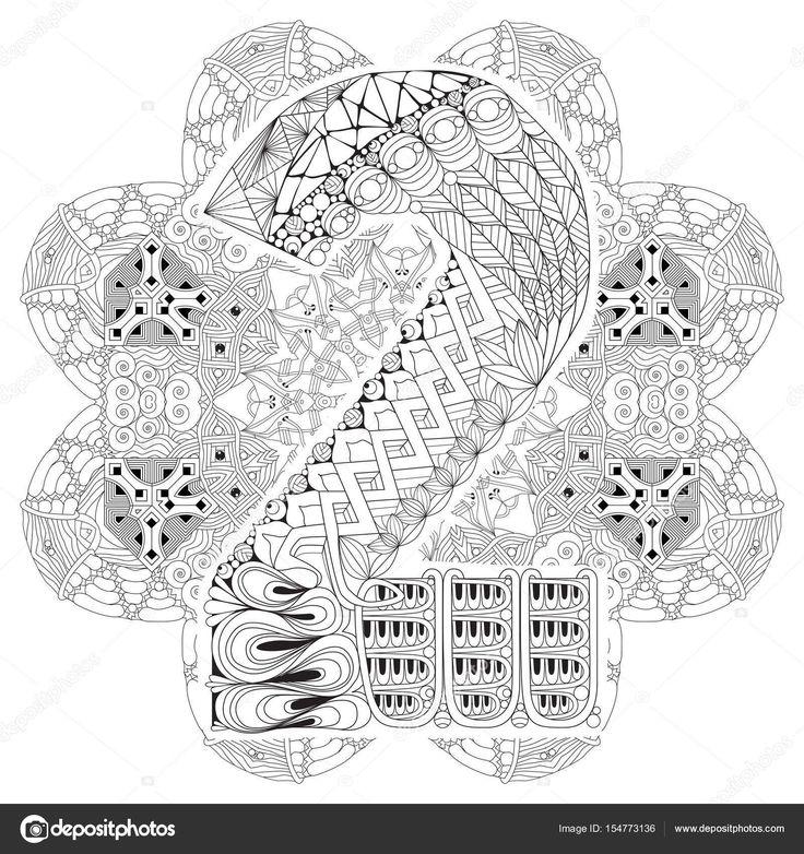 Descargar - Mandala con numero dos para colorear. Zentangle decorativo Vector — Ilustración de stock #154773136