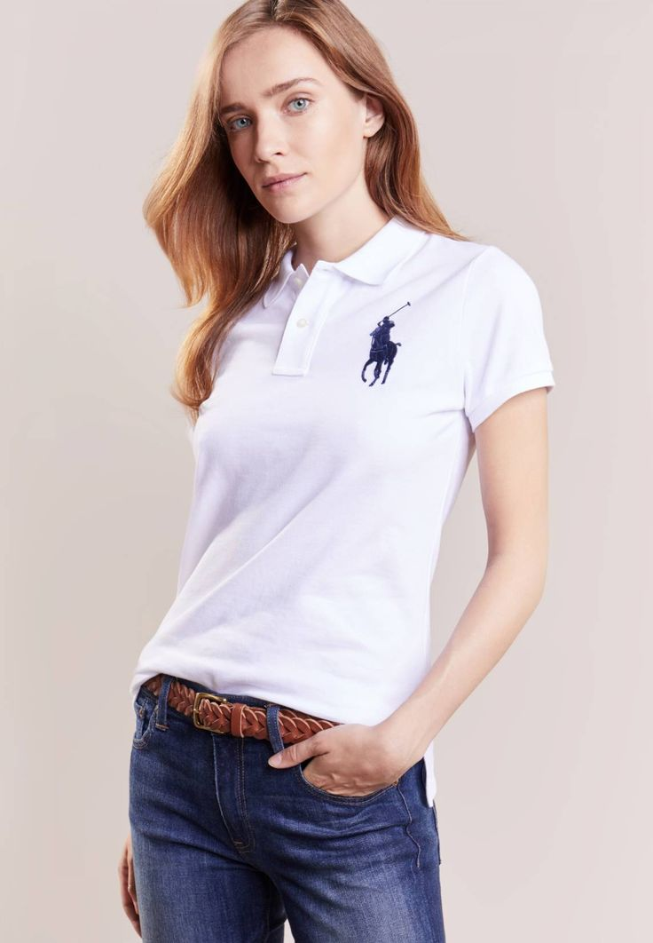 """Polo Ralph Lauren. Polo shirt - white/navy. Fit:Tailored. Our model's height:Our model is 70.0 """" tall and is wearing size S. Outer fabric material:100% cotton. Care instructions:machine wash at 30°C,Machine wash on gentle cycle. Length:norma..."""