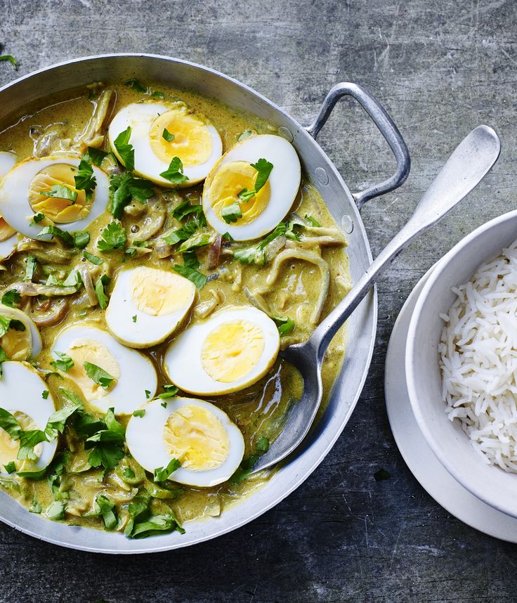 This is a simple, inexpensive vegetarian coconut curry made with whole eggs that only takes 15 minutes to make. From Rick Stein's India series.