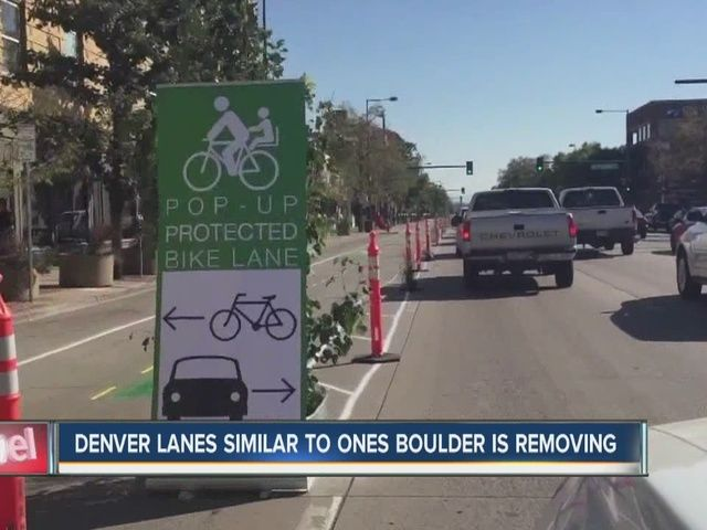 Denver is looking to install bike lanes similar to those being removed in Boulder. http://www.thedenverchannel.com/news/local-news/denver-looks-to-install-bike-lanes-similar-to-those-being-removed-in-boulder