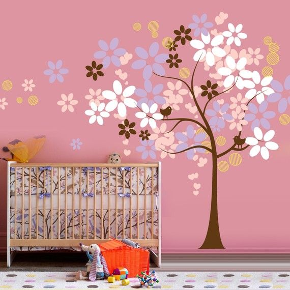 Girls Nursery Decal-how to adapt for our babies only wall?  My brain has been inspired-we shall see what if anything comes of it!