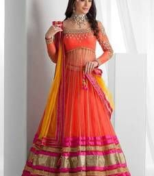 Buy Orange  Gorgette embroidered unstitched lehenga-choli lehenga-choli online