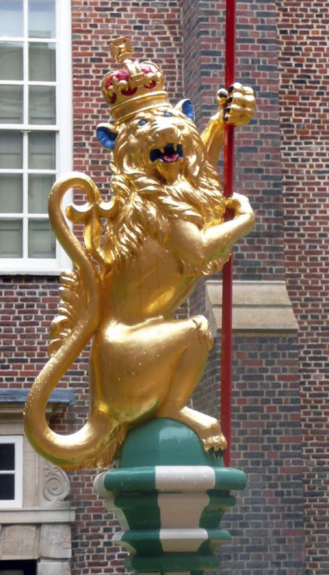 The eight Royal Beasts in the Tudor Garden have been painted (and gilded) with the correct heraldic colours of the period.  Golden Lion of England  A golden Lion has been the royal beast of England since the early 12th century.  Richard I probably first chose three golden lions as the Royal Arms of England.