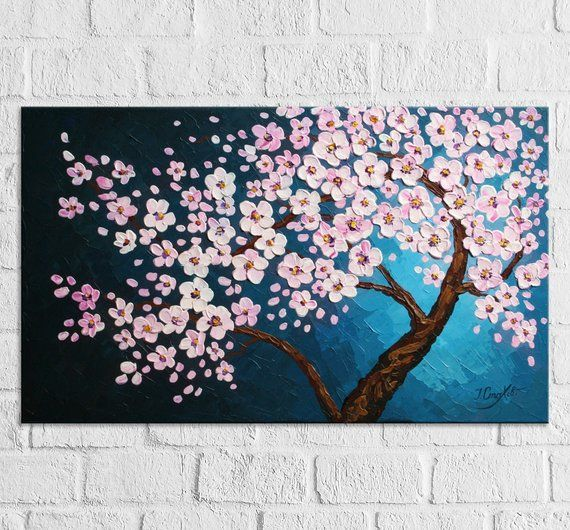 FLORAL FLOWER ART Picture Pink Grey White Spring Blossom Canvas Wall Large