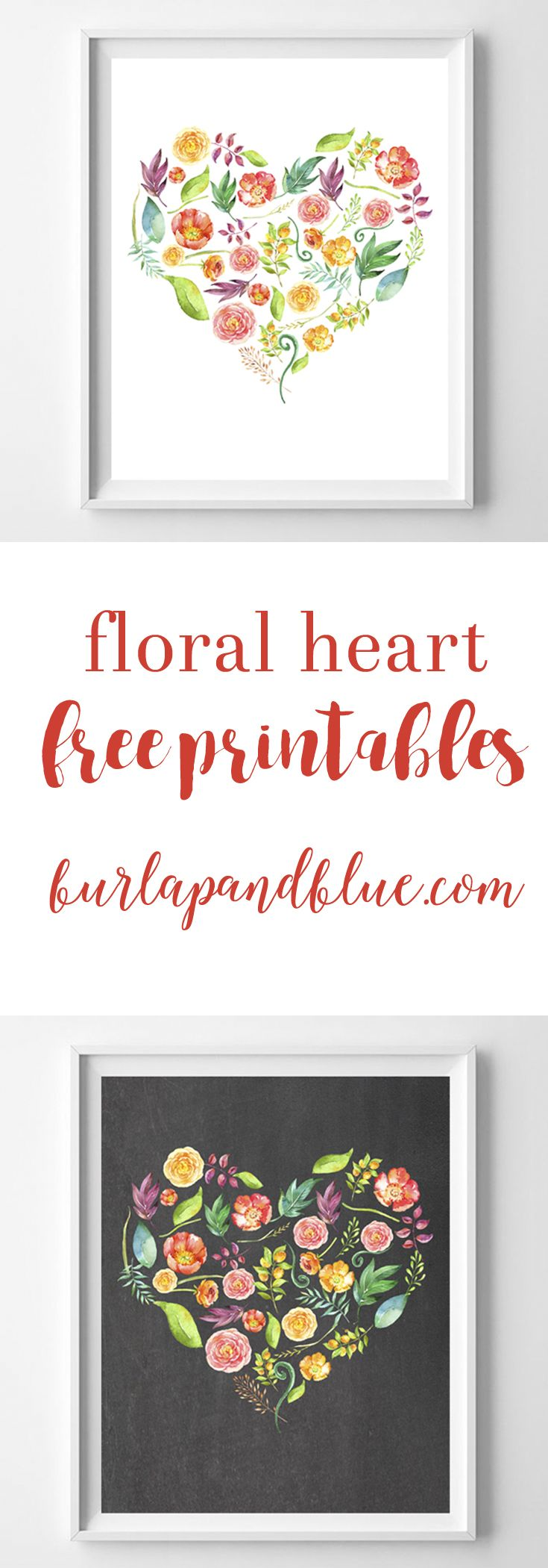 Free printable art! These flower heart printables are perfect for gifts, gallery walls, or mantle decor. Such a fun wall art piece!