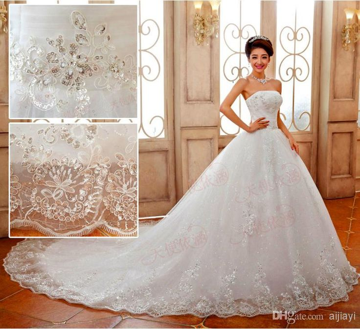 good quality luxury princess lace embroidery long train bow bridal married wedding dresses custom made plus size cathedral wedding gown