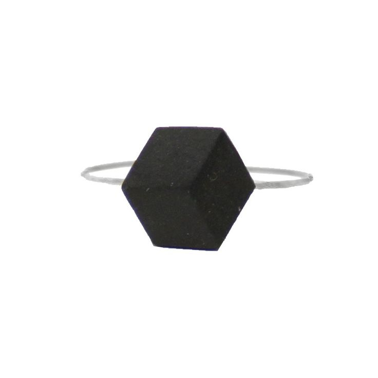 Ring versilbert schwarzer Keramit Stein