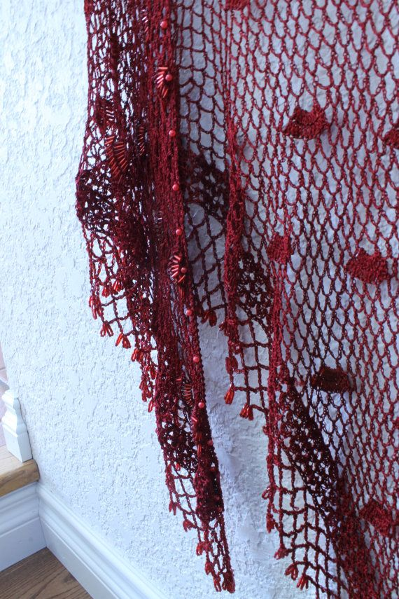Beaded Shawl Beaded Red Shawl Piano Shawl Red by ClockworkRummage, $38.00