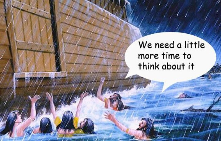 Will we be ready??? Jesus said his coming would be exactly like Noah's Day...people would not listen to God's warning...NOW is the time to learn and listen...Questions? jw.org will help you find answers for yourself.