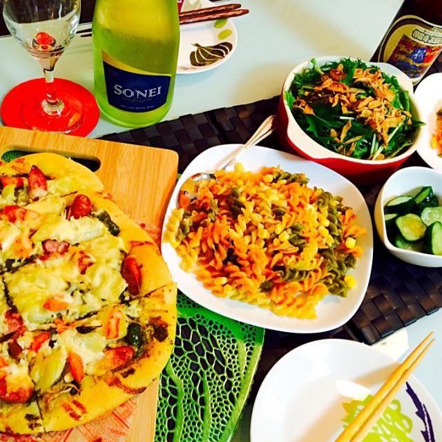 HBで簡単ジェノバピザ♡  残り野菜とソーセージで♡   あとは二種パスタでした〜 - 13件のもぐもぐ - 手作りピザな夕飯。 by redpug0704