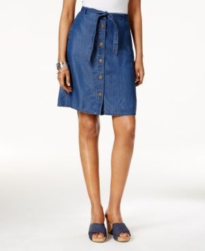 Style & Co Chambray Button-Front Skirt, Only at Macy's - Blue
