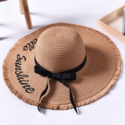 Handmade Weave letter Sun Hats For Women Black Ribbon Lace Up Large Brim Straw Hat Outdoor Beach Summer Caps Chapeu Feminino – Beach hat