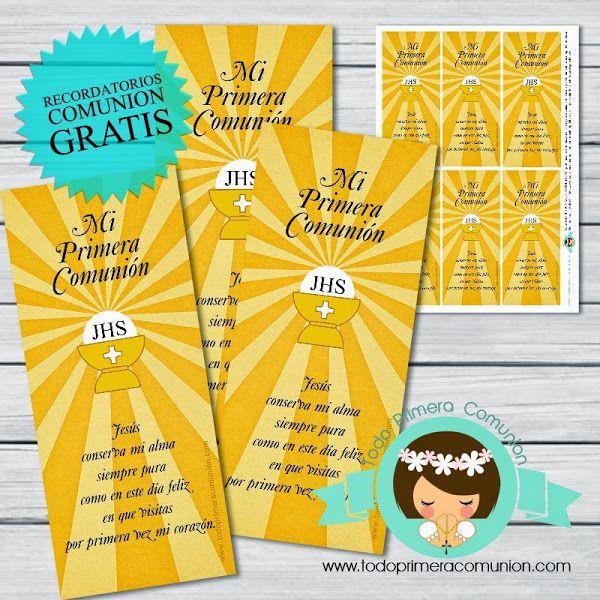 Imprimible Gratis: Recordatorio para Comunión | Todo Primera Comunión