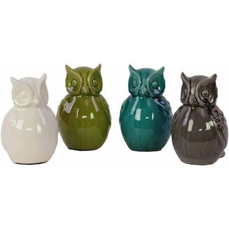Urban Trends Collection: Ceramic Owl Figurine, Gloss Finish, Gray, White, Green, Blue, Multicolor