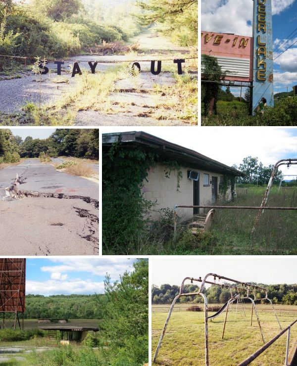 The abandoned town of Centralia, Pennsylvania,  is arguably the United States' most (in)famous modern ghost town.  Once a thriving community whose amenities included five hotels, seven churches and 26 saloons, Centralia has been deserted since an underground mine fire ignited in 1962 – and still burns to this day.