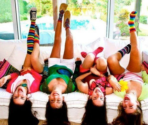 Hanging out :) cute teen girl friends pic but pull down there shirt for modesty & wear coollots