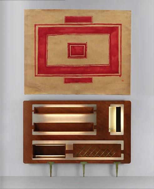 Gio Ponti Parete Attrezzata vs Kazimir Malevich sketch for a ceiling (Moss Auction @ Phillips de ...