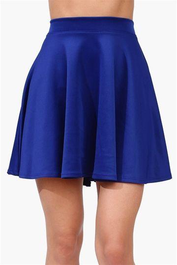 velvet skater skirt royal blue fashion