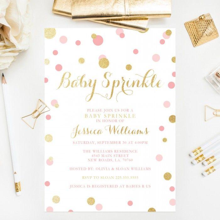Glitter Confetti Baby Sprinkle Invitations                                                                                                                                                                                 More