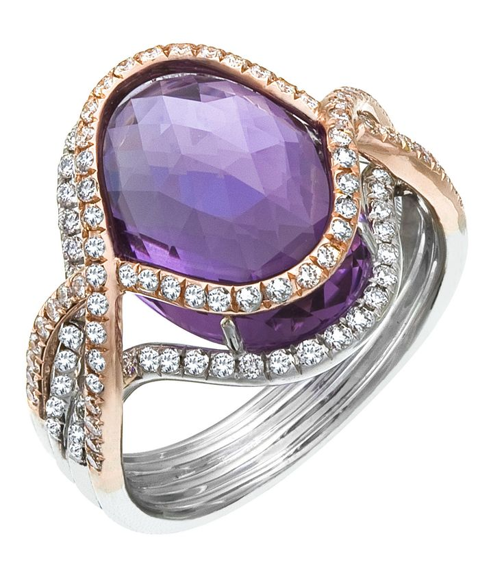 iamond Ring, .62 Carat Diamonds 7.56 Carat Amethyst on 14K Rose & White Gold