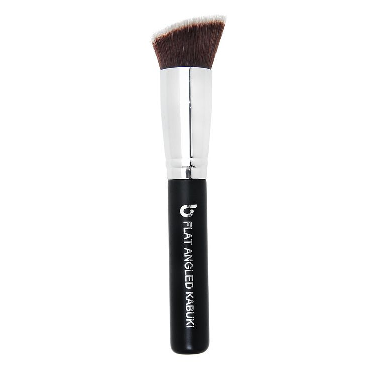 Bronzer Brush: This versatile brush combines the flat top with the angle brush for application perfection. Most commonly used for contouring with bronzer, the flat angle synthetic bristles apply and blend for even coverage. Works with all types of makeup, including liquids, creams and powders.