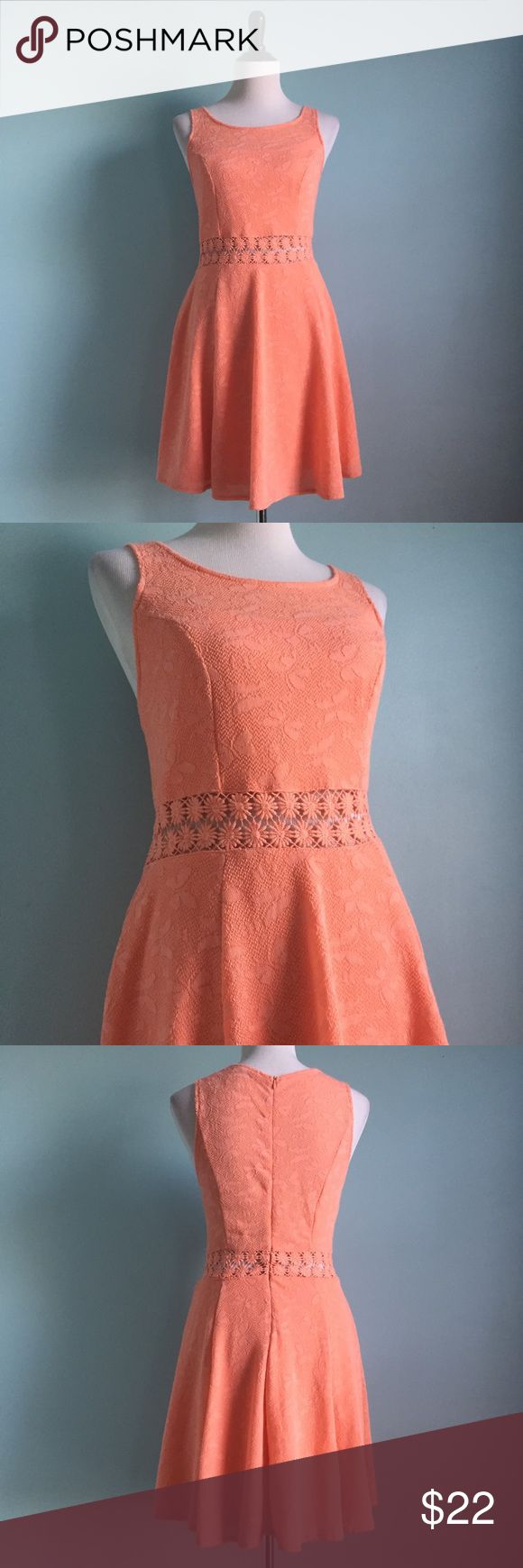 Peach Lacey Crochet Skater Dress Cute and comfortable peach lace dress with crochet floral midriff. Stretchy with zipper in back. Sleeveless Skater Dress. Fit & flare. Size juniors large by American Rag. In great condition! American Rag Dresses