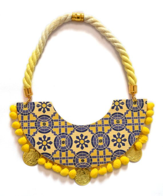 Big printed wood pompom boho necklacefashion by PROPSfashion, €45.00