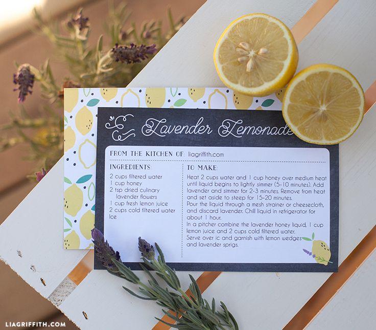 レモンのデザインと印刷可能なレシピカード
