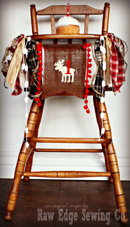 Woodland Camping Cabin Fishing Hunting Moose Elk Deer Duck Inspired Birthday high chair highchair Birthday Banner/Chair Banner/Cake Smash by RawEdgeSewingCo on Etsy