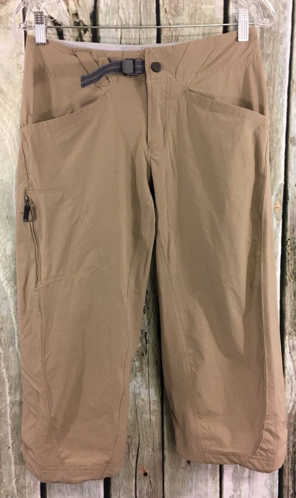 Mountain Hardwear 4 Capris Cortina Falls Pedal Pushers Beige Khaki Active Wear #MountainHardwear #PantsTightsLeggings