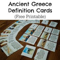 There is so much to love about Ancient Greece. The art, philosophy, greek mythology, the origins of democracy...if I had to choose a time to go back and visit, Ancient Greece would be a contender. (Of course, I'd prefer to be an elite male, and would rather be someplace like Athens than Sparta.) I made these cards to help my 6 year old learn some of the general terminology related to Ancient Greece. In the future, I plan to get into more specific details regarding the people, places, and…