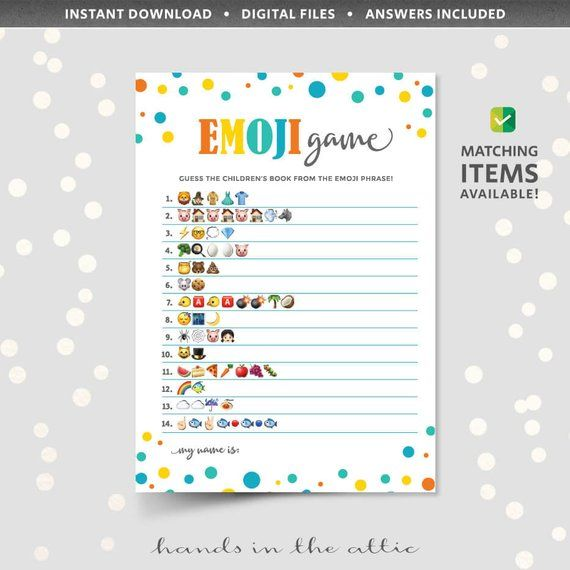 Emoji Pictionary Game With Answers Printable Baby Shower Phone Icons Guess The Phrase Childrens Book Titles Kids Theme Pi Pictionary Baby Name Game Emoji Games