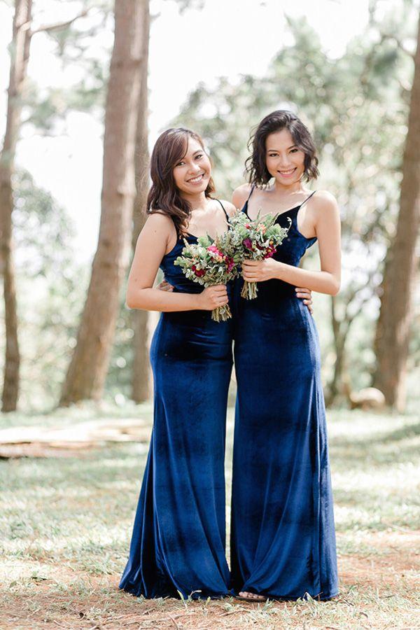 Chic Blue Velvet Bridesmaid Gowns   Photo: Studio629